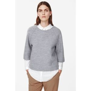 NWT COS Inverted Wavy Seam A Line Wool Crop Top 2